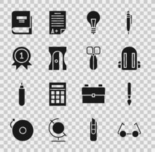 Set Glasses, Paint Brush, School Backpack, Light Bulb With Concept Of Idea, Pencil Sharpener, Medal, Book And Scissors Icon. Vector