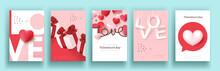 Set Of Valentine's Day Sale Poster Or Banner Backgroud.