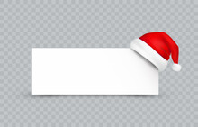 Santa Claus Hat With White Paper Banner Isolated On Transparent Background. New Year Or Christmas Red Cap And Frame. Vector 3d Xmas Icon