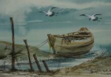 Watercolor Painting Art Class , Sea ,wave ,birds,boat