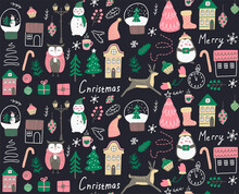 Seamless Christmas Pattern. Modern Boho Minimalism. Merry Christmas And A Happy New Year. Winter Stickers For Design. Template For Use In Children's Design, Textiles, Books, Packaging.