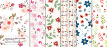 Trendy Seamless Floral Pattern Collection For Your Branding, Editable Vector Pattern For Fabric