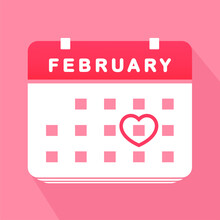 Calendar Valentine Day. Calendar Love Icon. Event. Illustration Vector