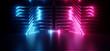 canvas print picture - Neon Sci Fi Futuristic Alien Spaceship Modern Vibrant Purple Blue Glowing Laser Beams Metal Glossy Plates Dark Empty Podium Club Party 3D Rendering