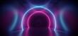 canvas print picture - Neon Sci Fi Futuristic Alien Spaceship Modern Vibrant Purple Blue Oval Circle Glowing Laser Beams Hallway Corridor Retro  Dark Empty Podium Club Party 3D Rendering