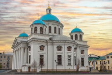 White Cathedral With Blue Domes Against The Sunset, Kazanskiy Cathedral, Kazan, Russia
