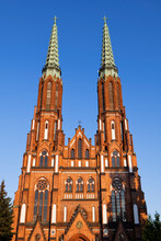 Poland, Masovian Voivodeship, Warsaw, Facade Of Cathedral Of Saint Michael Archangel And Saint Florian Martyr