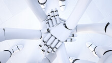 Rendering Of Three Robots Stacking Hands, Close-up