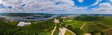 Germany, Rhineland-Palatinate, Bingen Region, Rochus Mountain And Rochus Chapel, Aerial View Of Kempen Am Rhein And Ruedesheim Am Rhein