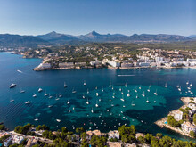 Spain, Baleares, Mallorca, Calvia Region, Aerial View Of Santa Ponca, Marina, Serra De Tramuntana In The Background
