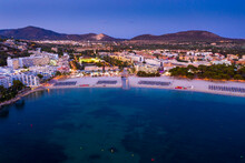Spain, Balearic Islands, Mallorca, Calvia Region, Aerial View Over Costa De La Calma And Santa Ponca With Hotels And Beaches At Sunset