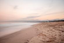 USA, California, Santa Monica, Beach And Sea At Twilight