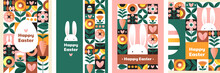Set Of Easter Cards. Collection Of Holiday Icons. Website Decoration, Graphic Elements. Holiday Covers, Posters, Banners, Greeting Card. Cartoon Flat Vector Illustration Isolated On White Background
