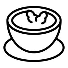 Potato Cream Soup Icon Outline Vector. Cheese Food. Milk Dish