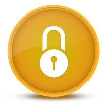 Lock Luxurious Glossy Yellow Round Button Abstract