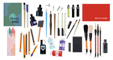 Set Of Calligraphy. Collection Of Writing Instruments, Nib, Pen, Pencil. Brushes, Notebooks, Set Of Schoolchildren, Things For Drawing. Cartoon Flat Vector Illustration Isolated On White Background