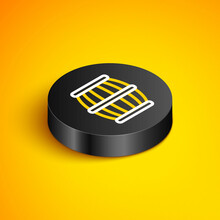 Isometric Line Gun Powder Barrel Icon Isolated On Yellow Background. TNT Dynamite Wooden Old Barrel. Black Circle Button. Vector