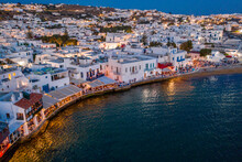 Greece, Mykonos, Little Venice Area Of Mykonos City At Sunset