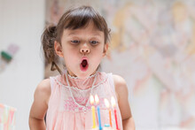 Portrait Of Little Girl Blowing Out Burning Candles On Her Birthday Cake