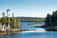 Canada, Nova Scotia, Mitchell Bay, Clear Sky Over Small Forested Islands