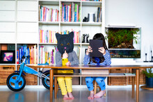 Two Girls Sitting At Table, Hiding Behind Digital Tablet And Cat Mask