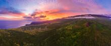 USA, Hawaii, Maui, South Coast, Haleakala Volcano, Luala?ilua Hills And Wind Turbines At Sunset