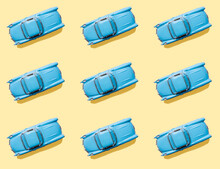 Vintage Blue Cars Pattern On Pastel Yellow Background