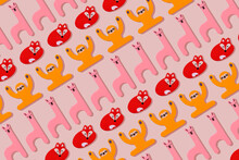 Llama, Fox And Sloth, Wooden Toys In A Row On Pastel Pink Background