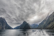 New Zealand, Oceania, South Island, Southland, Fiordland National Park, Milford Sound And Storm Clouds