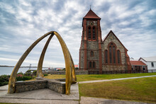 UK, Falkland Islands, Stanley, Whale-bone Arch In Front Of Christ Church Cathedral