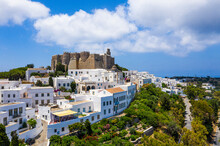 Greece, South Aegean, Patmos, Aerial View OfMonastery Of Saint John The Theologian And Surrounding Town