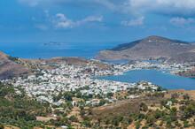 Greece, South Aegean, Patmos, Coastal Town In Summer