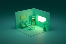 Three Dimensional Render Of Green Colored Corner Of Living Room With Woman Sitting On Sofa