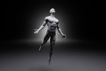 3D Illustration Of Levitating Male Character Made Out Of Concrete