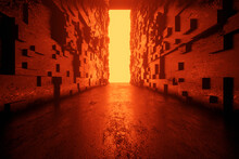 3D Rendered Illustration Of Glowing Orange Exit At The End In Dark Corridor