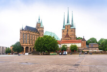 Germany, Erfurt, Domplatz With Cathedral