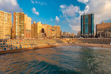 Egypt, Alexandria, Cityscape With Stanley Beach At Sunset
