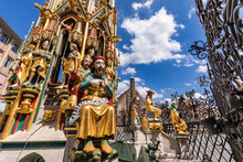 Germany, Bavaria, Nuremberg, Sculptures Of Historical Schoner Brunnen Fountain