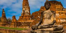 Thailand, Ayutthaya, Weathered Statue Of Meditating Buddha At Wat Mahathat Temple