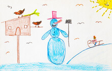 Children's Drawing Of Snowman