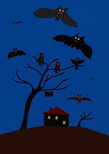 Child's Painting Of Bats And Birds At Night