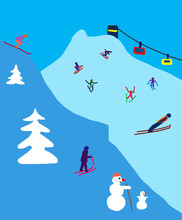 Child's Painting Of Winter Landscape With Skiers And Ski Jumpers