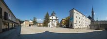 Austria, Salzburg, Max Reinhardt Platz With Festspielhaus Kollegienkirche And Rupertinum, Empty Due To Coronavirus Pandemic