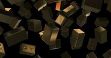 Golden Floor Safe Rain Falling Slow Motion - Security Concept