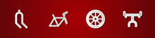 Set Bicycle Fork, Frame, Wheel And Handlebar Icon. Vector