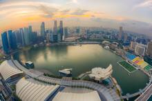 Singapore, Aerial View Of Singapore Marina Bay At Sunset