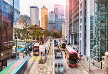 Trams And Buses In Hong Kong Central, Hong Kong, China