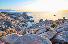 Italy, Province Of Sassari, Santa Teresa Gallura, Rocky Shore Of Cape Testa At Sunset