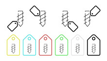 Drill Tip Vector Icon In Tag Set Illustration For Ui And Ux, Website Or Mobile Application