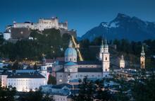 Austria, Salzburg Land, Salzburg, Old Town And Mountain At Dusk